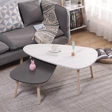 wyctin 2er set design beistelltisch retro couchtisch kaffeetisch wohnzimmer tisch weiß grau