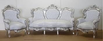 casa padrino barock sofa garnitur weiß lederoptik silber 2 sessel wohnzimmer barock