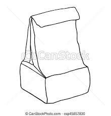 School Lunch Box Paper Package Container Hand Drawn Graphic