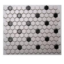 american olean mosaic tile american olean 10 pack 12 in x 12 in satinglo hex white black