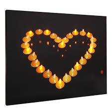 shaped candles light up led canvas painting picture