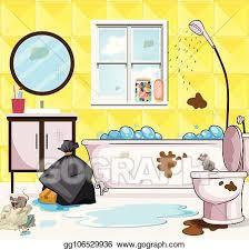 vektor illustration sehr dreckig badezimmer szene eps