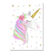 Cute Unicorn Rainbow Canvas Painting Nursery Wall Art