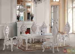 Victorian Inspired Luxury White Formal Dining Room Set