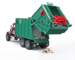 Amazon.com: Bruder Toys Mack Granite Garbage Truck (Ruby Red Green ...