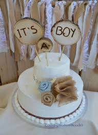 Rustic Cake Topper Baby Shower Burlap Wood Its A Boy