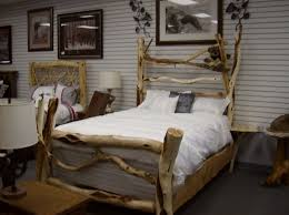 Pleasureable Two Log Wooden Bed Frame With Artwork Wall Decors As Well Shade Nightstand Lamp In Twin Rustic Bedroom Designs Ideas