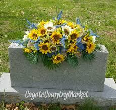 Memorial Day Graveside Decorations sunflower denim burlap mesh headstone saddle memorial sunflower