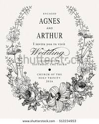 Wedding Invitation Beautiful Blooming Flowers Vintage Greeting Card Frame Drawing Engraving Isolated