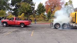 Semi Truck Vs Chevy Dually Tug Of War Goes Totally Unexpected