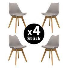 naturelifestore 4er set esszimmerstühle mit massivholz buche bein retro design gepolsterter lstuhl küchenstuhl holz grau