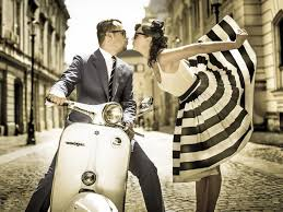 Retro Couple And Vintage Vespa Wallpaper