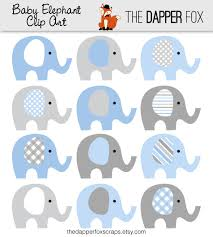 Baby Shower Clipart Boy Nice Design 1 Blue And Grey Elephant Clip