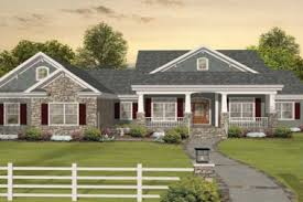Brick House Facades Craftsman One Style Ranch Plans With Porches Rustic