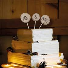 Romantic Mr Mrs Wedding Cake Inserted Toppers Exquisite Rustic Wood Decorations Supplies For Event Party