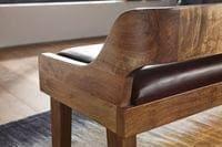 wohnling sitzbank echtleder massivholz bank 108x63x43 cm polsterbank mit rückenlehne bank flur schlafzimmer braun kleine bettbank leder