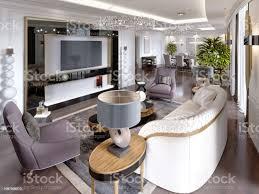 luxusappartements im hotel mit einem wohnzimmer und esszimmer sofa bett tvständer esstisch klassisches interieur mit weißen wänden stockfoto und mehr