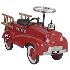 My Play Children's Ride-On Red Fire Truck Push Along Vintage Vehicle ...