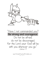 Be Strong Bible Verse Coloring Page