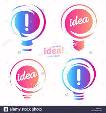 stylized lightbulbs logo set new idea and solution abstract