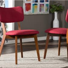 baxton studio monaco red fabric upholstered dining chairs set of