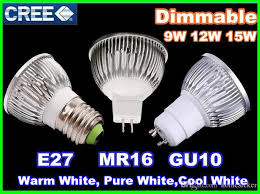 dimmable cree led l 9w 12w 15w mr16 12v gu10 e27 b22 e14 85