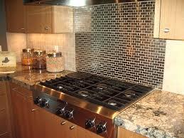 modern kitchen with metal glass peel stick tile backsplash black