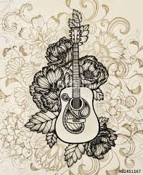 Acoustic Guitar With Flower Design Hand Drawn Illustration In Vintage Sepia Color Black Inking