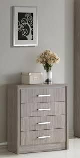 commode chambre à coucher commode 4 tiroirs contemporaine chêne gris kyliane chambre