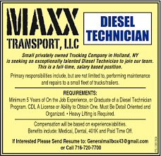 Diesel Technician, Maxx Transport, LLC., Holland, NY Trucking Holland Meet Wilson Logistics And Get Paid Cdl Traing In Missouri Company Trackstar Vehicle Railroad Track Testing About Truck Driver Receives Intertional Exllence Award Home Special Delivery Usf Express Estes Trucks Truckdriverworldwide Jobs Forklift Job Description For Resume Forklift Operator Job