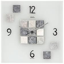 ams 9276 wanduhr quarz analog eckig in stein optik mit natursteinen und glas