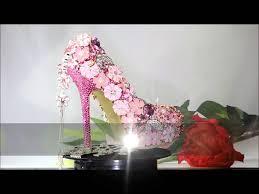 women high heels platform pumps pink swarovski crystal shoes for
