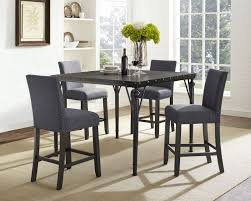Brassex Inc Arianna 5-Piece Pub Set, Table + 4 Stools, Grey ...