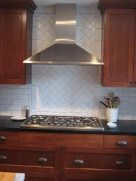 Menards White Subway Tile 3x6 by Cherry Kitchen Cabinets With Gray Wall And Quartz Countertops