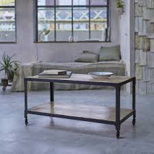 Industrial Style Metal And Solid Mango Coffee Table Side Table