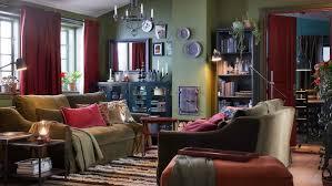 gemütliches wohnzimmer mit roten gardinen ikea deutschland