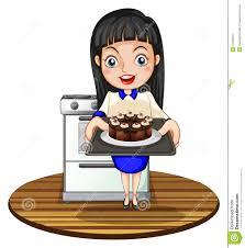 Woman Baking Cake Clipart