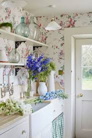 Country Kitchens Also Stylish Wall Mount Faucet And Flowery Kitchen Wallpaper Besides Farmhouse Sink Stunning Butcher Block Countertops White