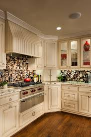 Kitchen Design Cream Colored Cabinets With Circular Tile Crown Molding Best Paint For