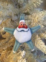 Seashell Christmas Tree Ornaments by Spiny Seafoam Sea Glass Green Santa Starfish Christmas Ornament