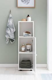 finebuy badezimmerschrank 30 x 98 x 30 cm fb52298 weiß holz kleiner bad schrank badregal schmal mit tür und ablagefach badmöbel hoch stehend