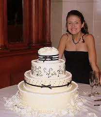 Katelyn With Her Elegant Black White Wedding Cake