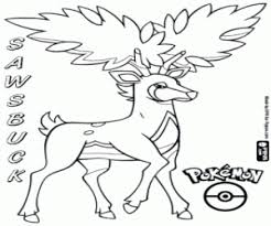 Sawsbuck In Summer Pokemon The Deer Spring Coloring Page