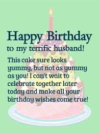 To my Terrific Husband Happy Birthday Wishes Card