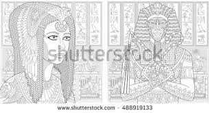 Anti Stress Coloring Book Page With Doodle And Zentangle Elements Ancient Pharaoh Tutankhamen Queen Cleopatra Nefertiti Egyptian Symbols