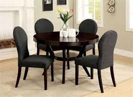elegant dining room design with round deep espresso open shelf