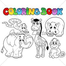 Coloring Book With African Animals Vector Ill