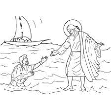 Jesus Walking On Water Shield Of Faith Coloring Page From Bible