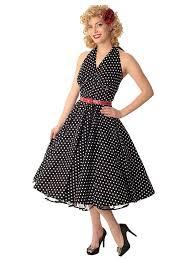 Classic Dame 1950s Vintage Style Black White Polka Dot Halter Swing Dress