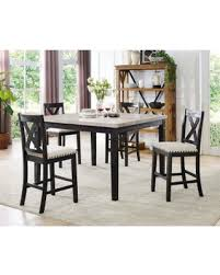 Cambridge Azul 5 Piece Dining Set Marble Table And Four Wooden Chairs Espresso